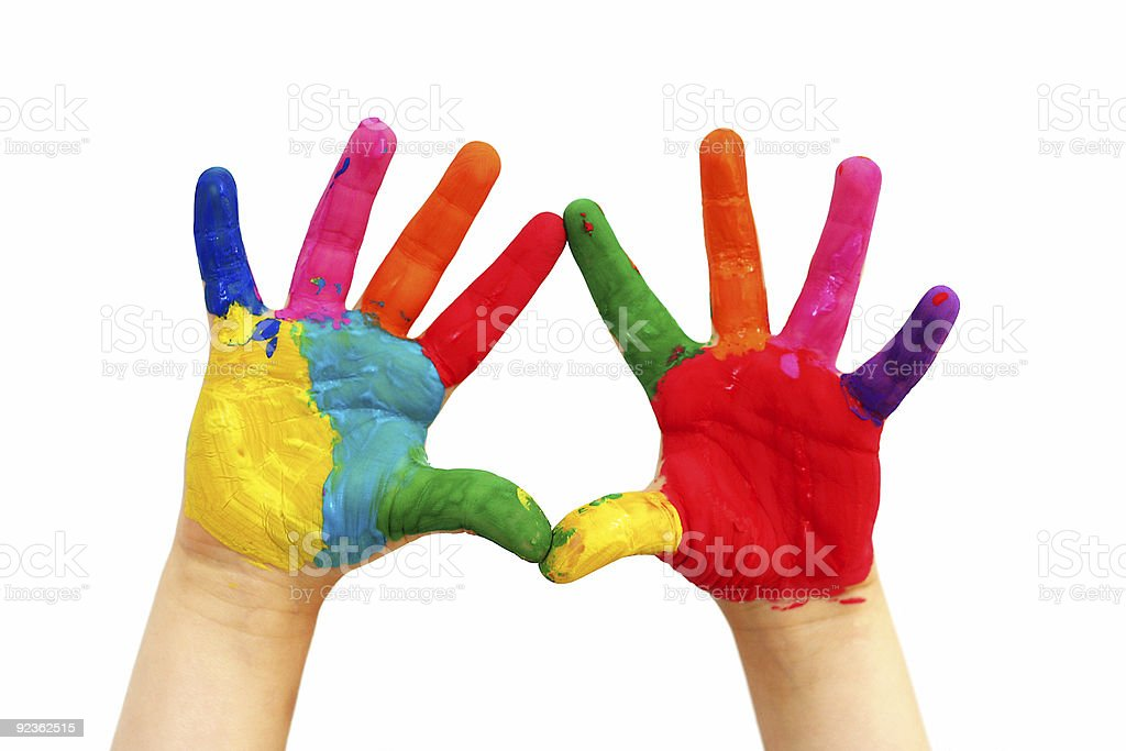 Painted child hands stock photo
