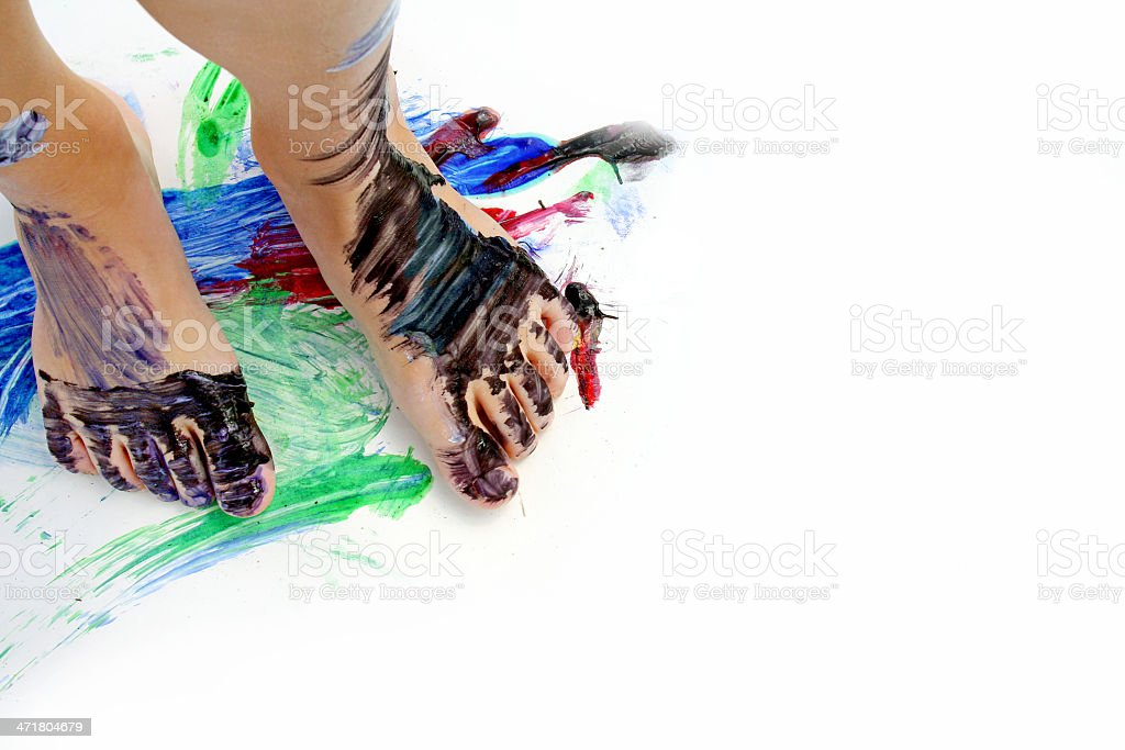 Painted Child's Feet on Paper royalty-free stock photo