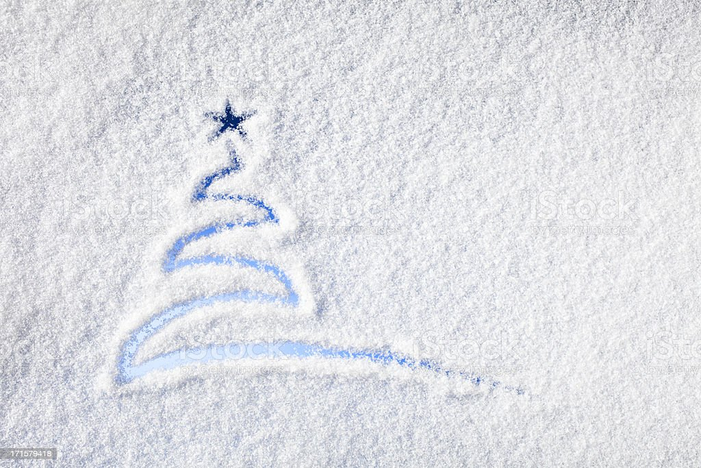 Painted christmas tree on snow - Background Winter Window royalty-free stock photo