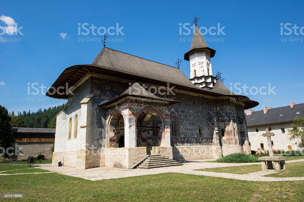 Painted church in Moldavia stock photo