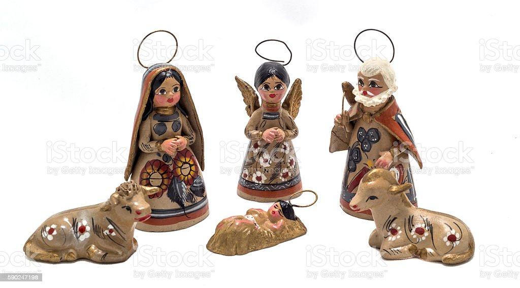 painted clay nativity scene stock photo