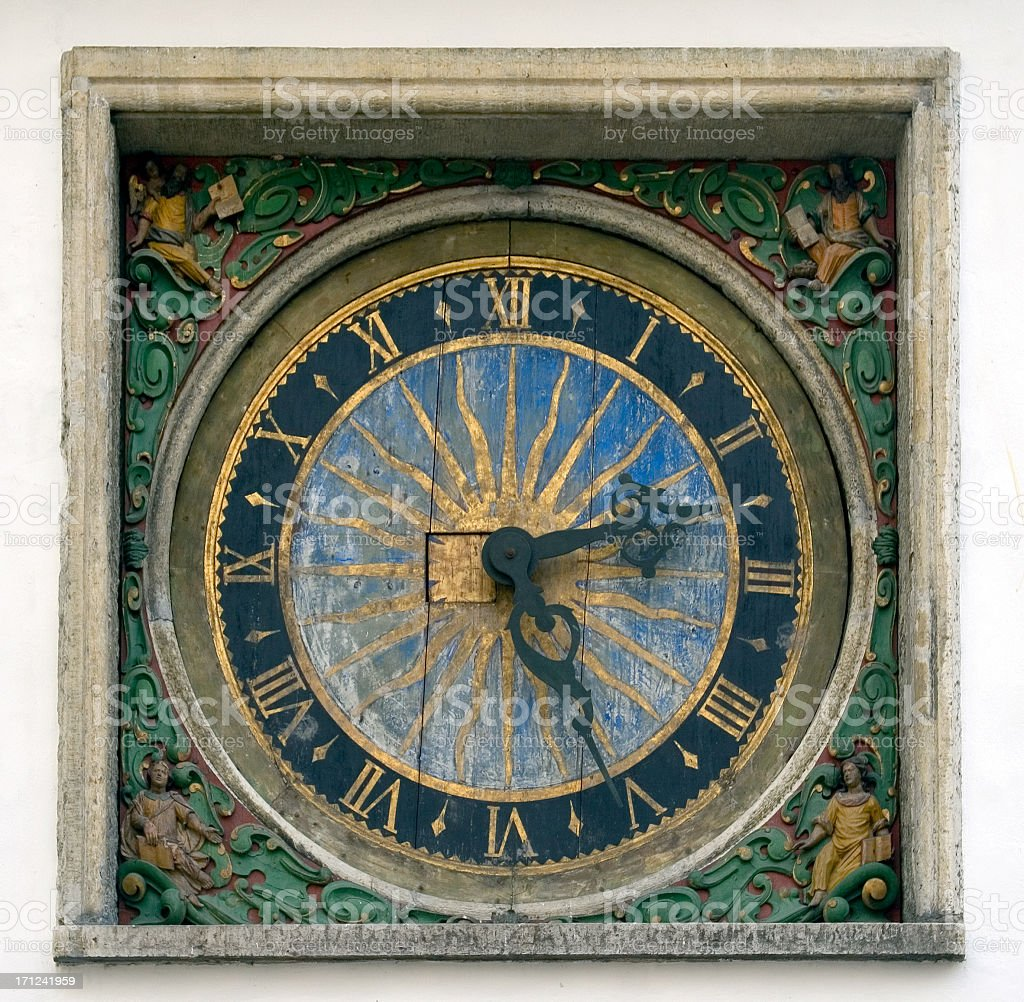 Painted clock, Church of the Holy Ghost, Tallinn, Estonia royalty-free stock photo