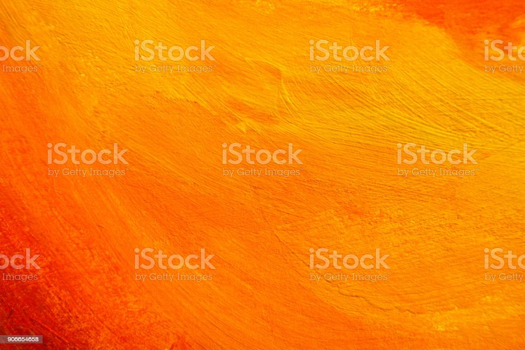 Painted Color Background, Abstract Orange Paint Texture stock photo
