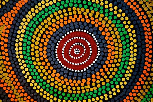 istock Painted color dot mandala circle Asian African ethnic art craft 515436772