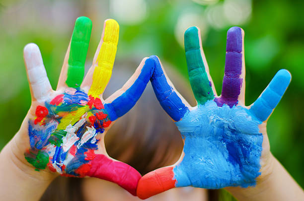 painted colorful hands painted colorful hands recreational pursuit stock pictures, royalty-free photos & images