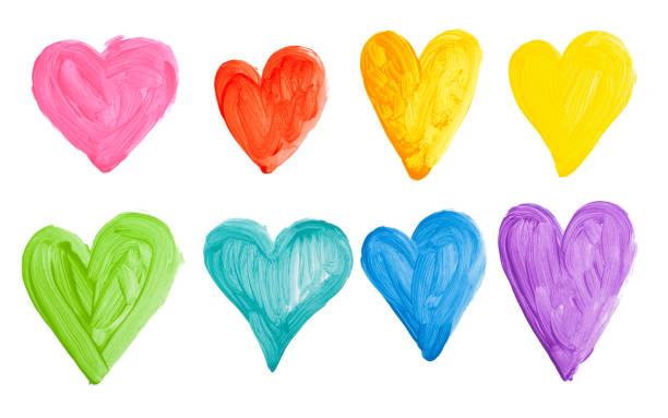 Bunte Herzen auf weiß lackiert – Foto