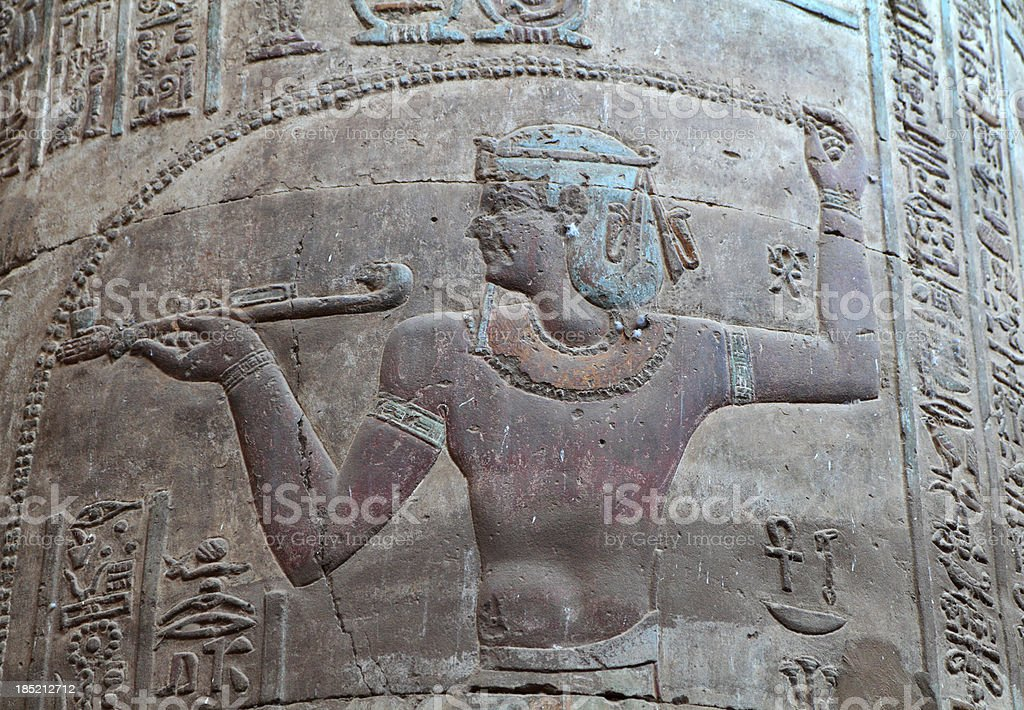 Painted Column Relief, Temple of Khnum, Esna royalty-free stock photo