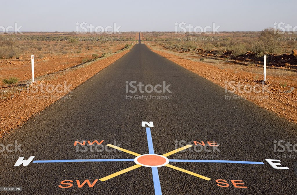 Painted Compass on Desert Road royalty-free stock photo