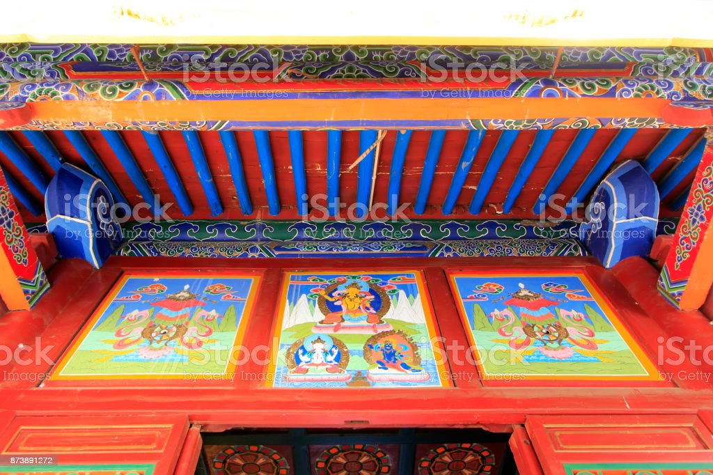 painted decoration in a temple, closeup of photo stock photo