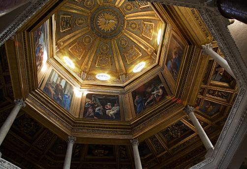 Painted dome in the Loggia delle Benedizioni, Rome, Italy