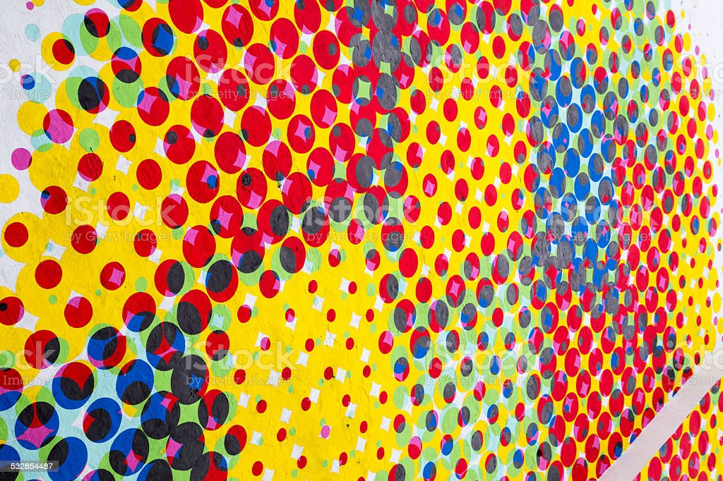 Painted dots on wall stock photo