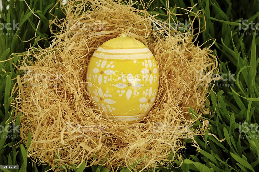 Painted easter egg in nest royalty-free stock photo