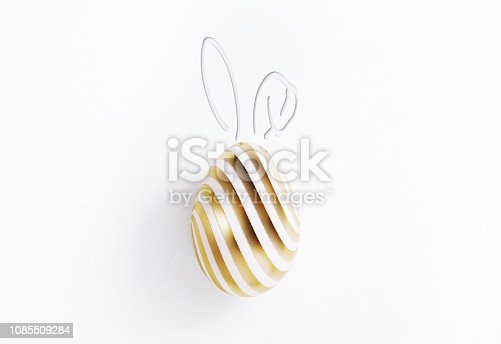 Painted Easter egg with bunny ears. Isolated on white background. Clipping path is included. Great use for Easter concepts.