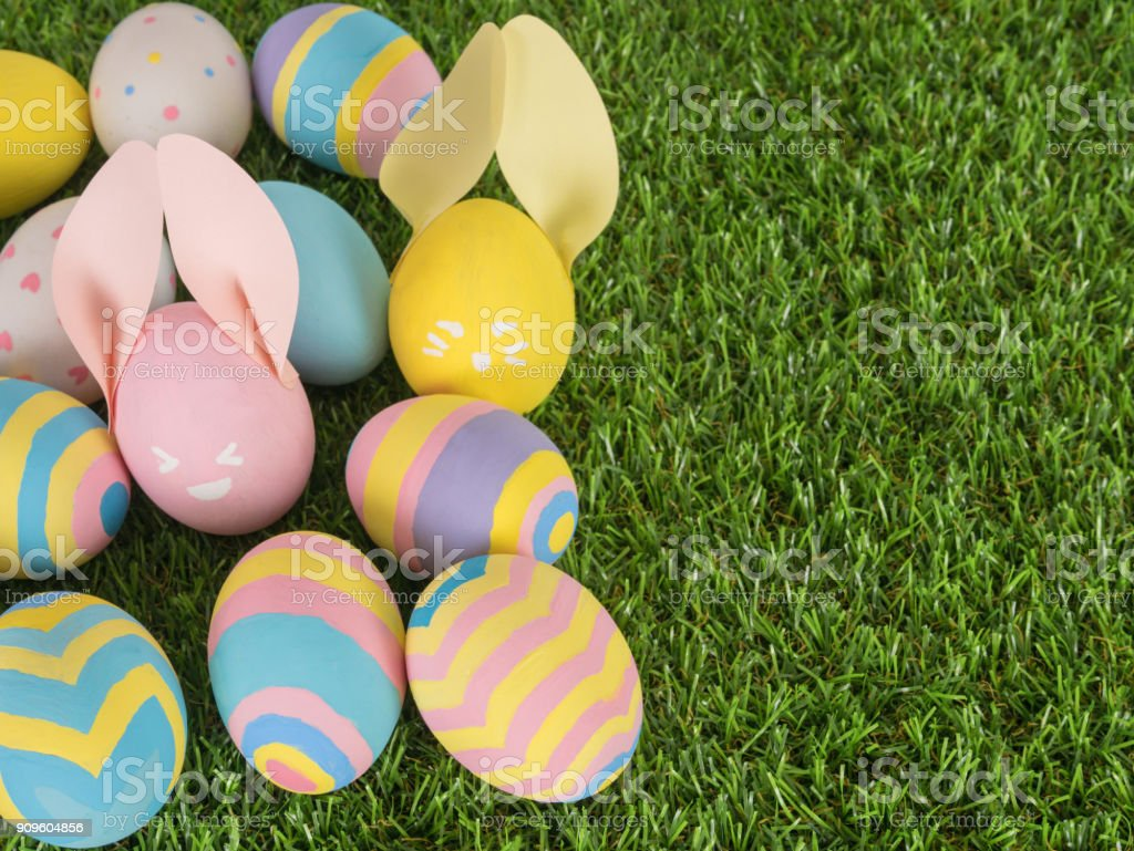 Painted Easter Eggs On A Grass Yard Concept For Easter Stock