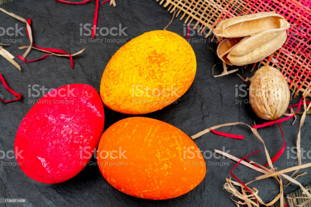 Painted eggs of a traditional Christian Easter holiday. Easter...