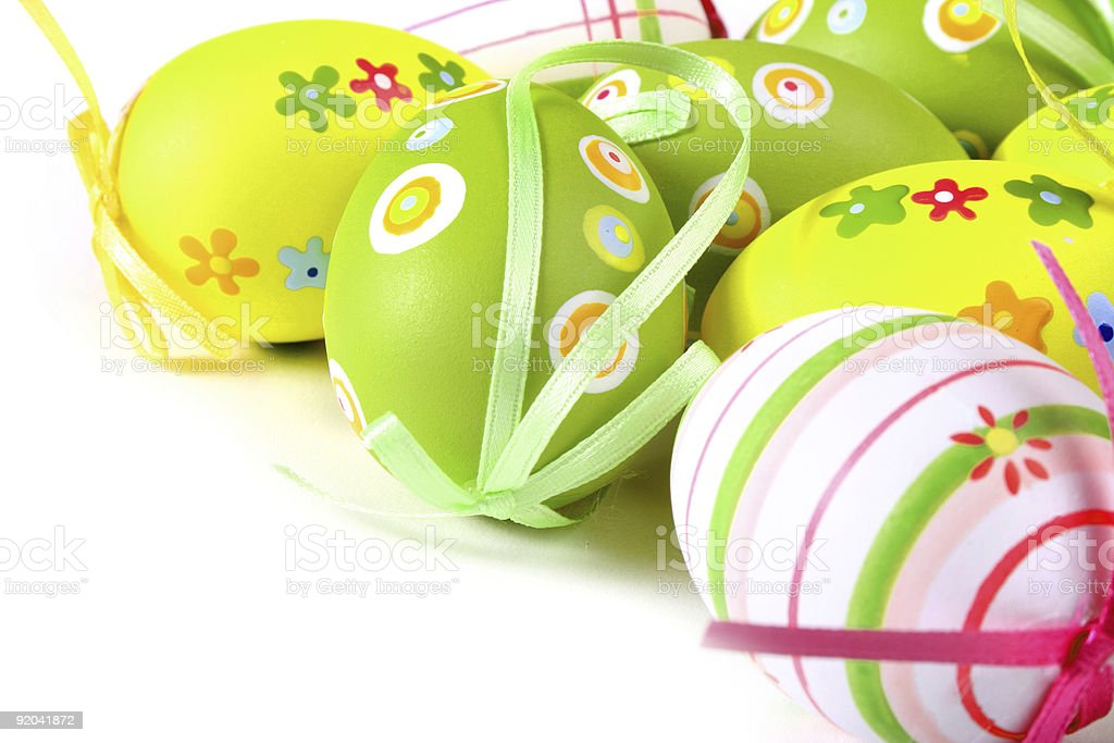 Painted eggs on white background stock photo