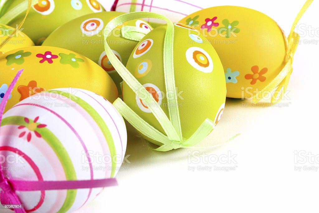 Painted eggs on white background royalty-free stock photo