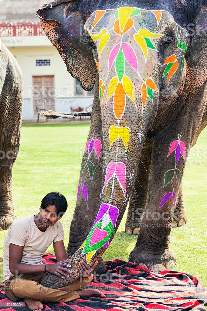 Painted Elephant and Handler in Amer, India stock photo
