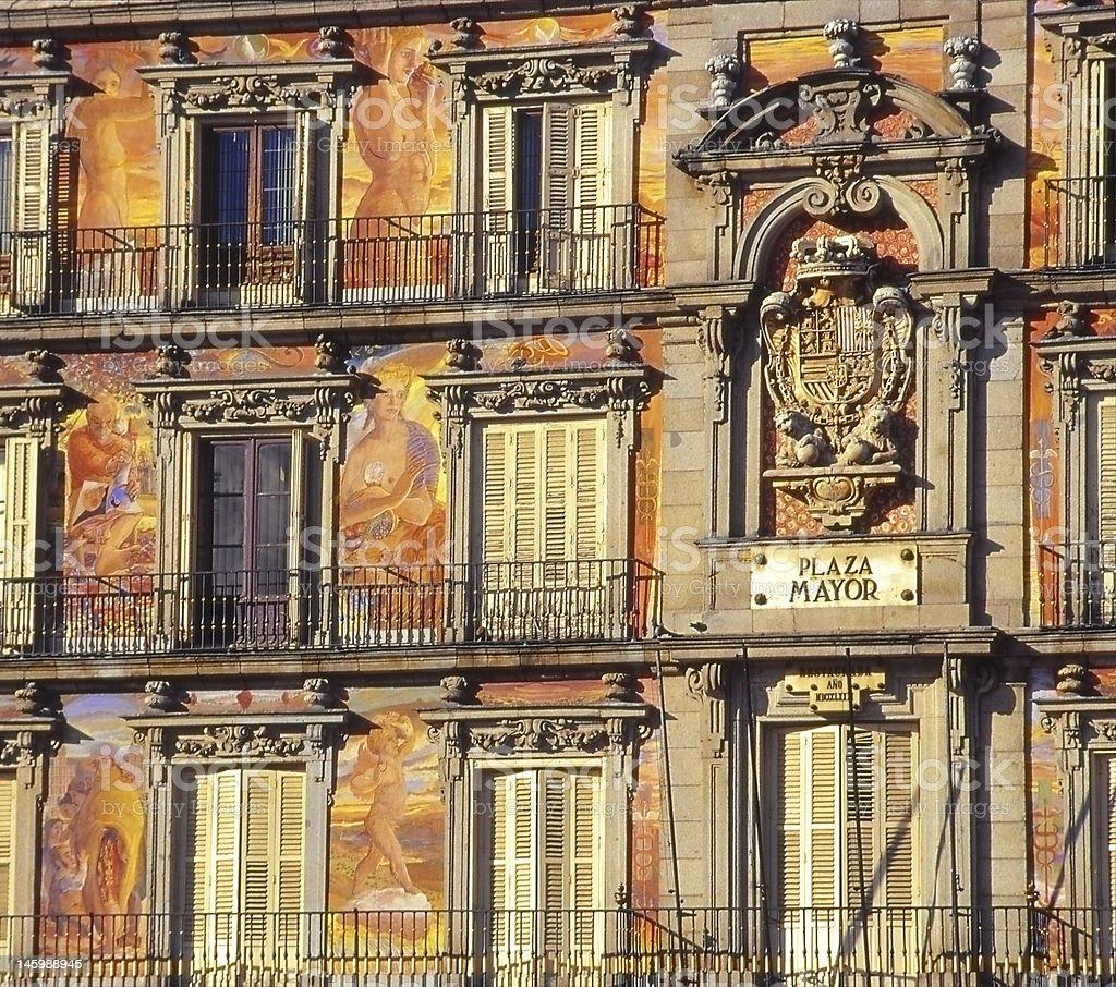 Painted façade of the Plaza Mayor, Madrid royalty-free stock photo
