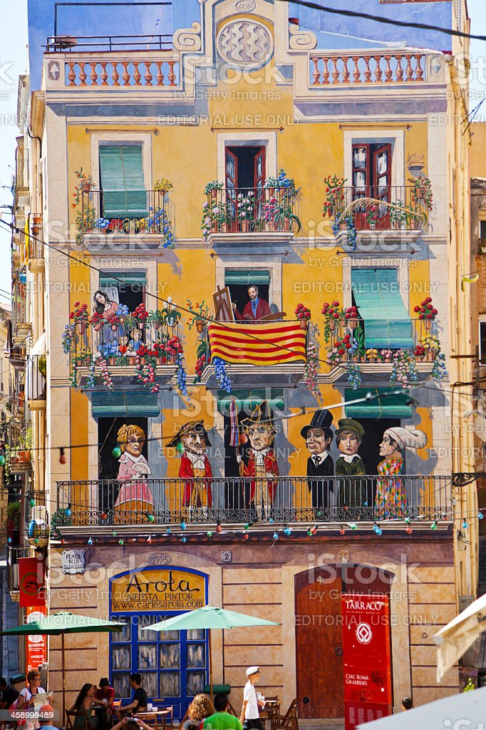 Painted Facade in Tarragona stock photo