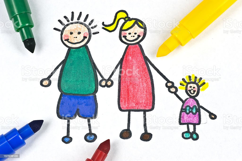 painted family illustration stock photo
