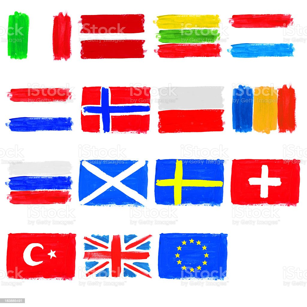 Painted flags of Europe - part 2 royalty-free stock photo