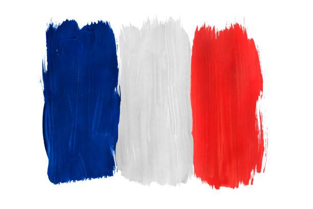 Fransız bayrağının izole boyalı stok fotoğrafı