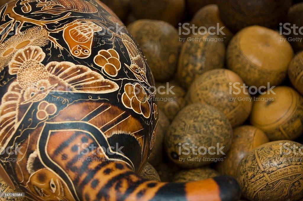 Painted Gourds at the Atovalo market, Ecuador stock photo
