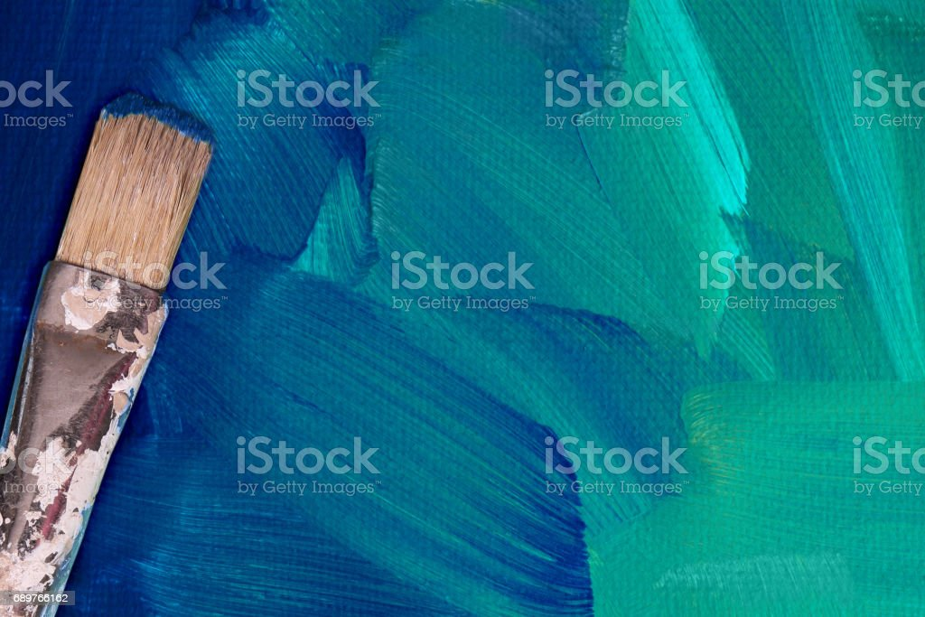 Telas pintadas de verde com escova - foto de acervo