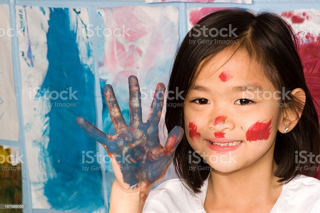Painted hand and face royalty-free stock photo