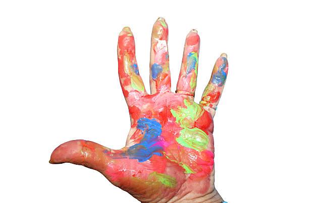 painted hand - mutterschutzfrist stock-fotos und bilder