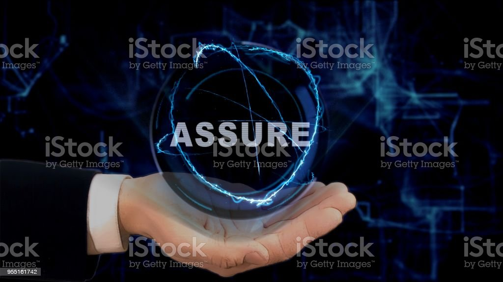 Painted hand shows concept hologram Assure on his hand stock photo