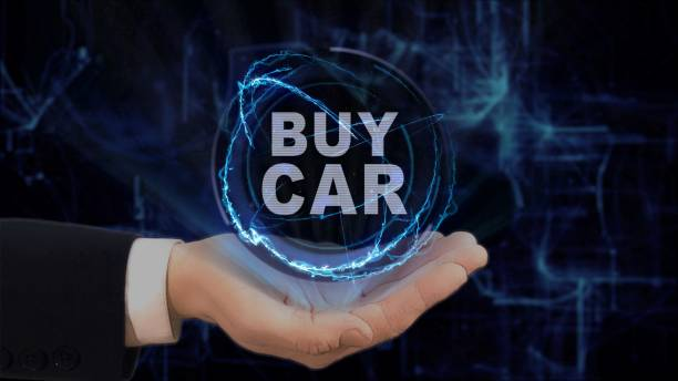 gemalte hand zeigt konzeptfahrzeug hologramm kaufen auf seiner hand - auto trennwand stock-fotos und bilder