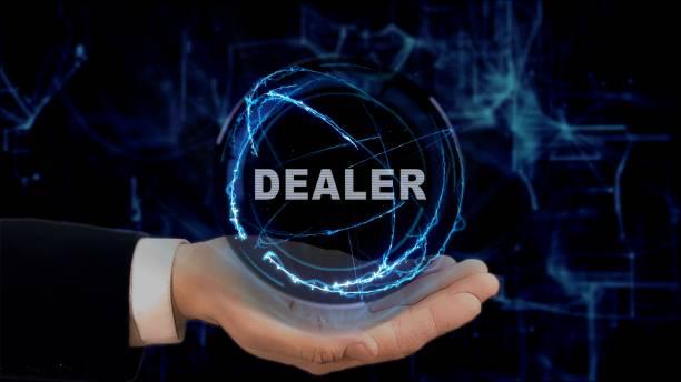 gemalte hand zeigt konzept hologramm händler an der hand - auto trennwand stock-fotos und bilder