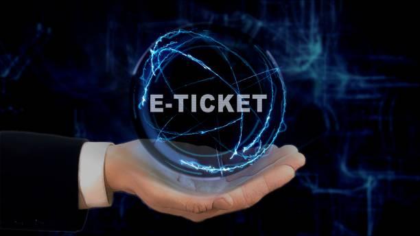 gemalte hand zeigt konzept hologramm e-ticket an der hand - auto trennwand stock-fotos und bilder