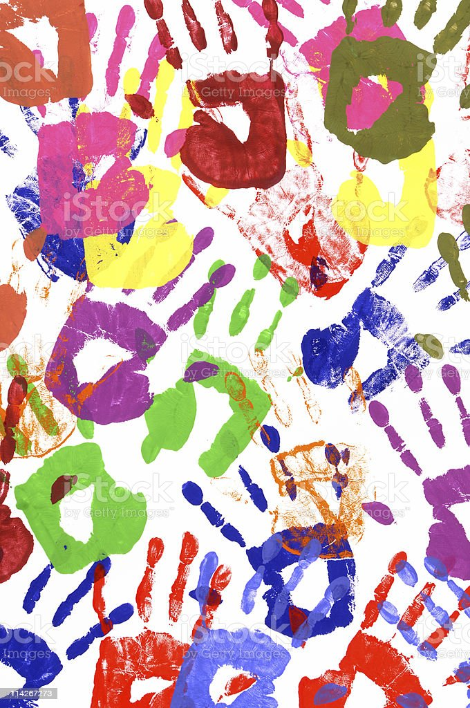 Painted handprints royalty-free stock photo