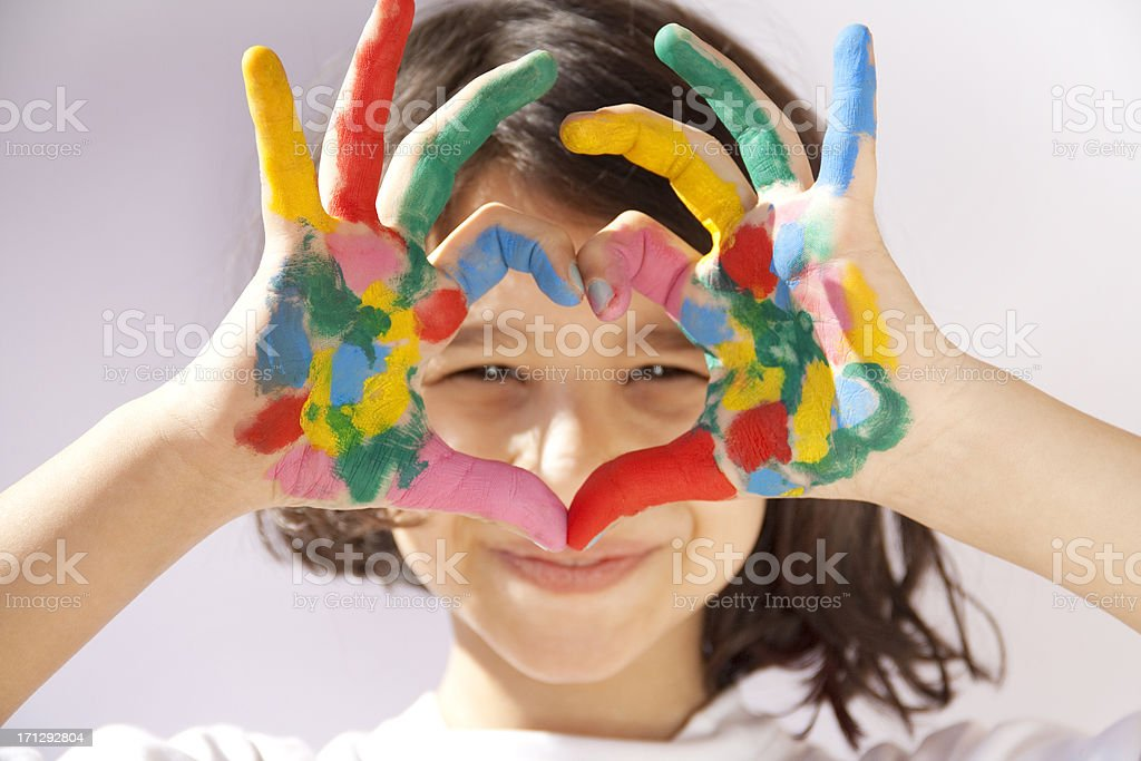 Painted hands sign heart stock photo