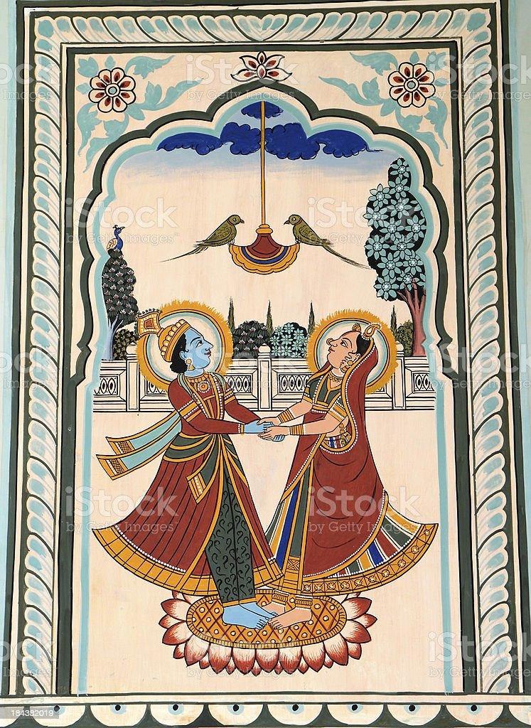 Painted Haveli, Nawalgarh, Shekhawati Region of Rajasthan, India stock photo