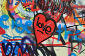 Painted heart on messy smudged wall background. Love graffiti detail.