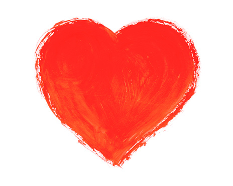 Drawn heart isolated on a white background.