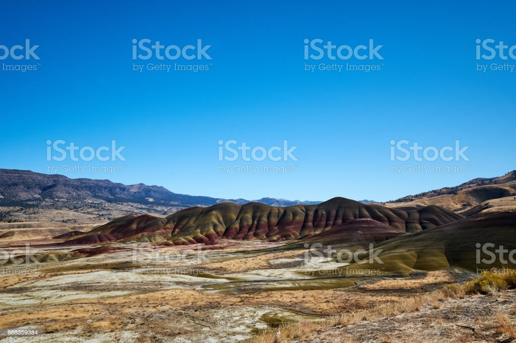 Painted Hill with Blue Sky stock photo
