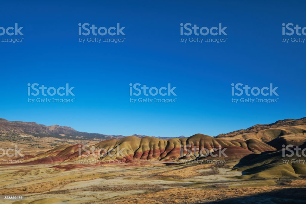 Painted Hills Blue Sky stock photo