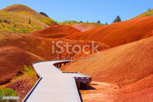 Walking path through John Day Fossil Beds National Monument. Painted Hills, Oregon.