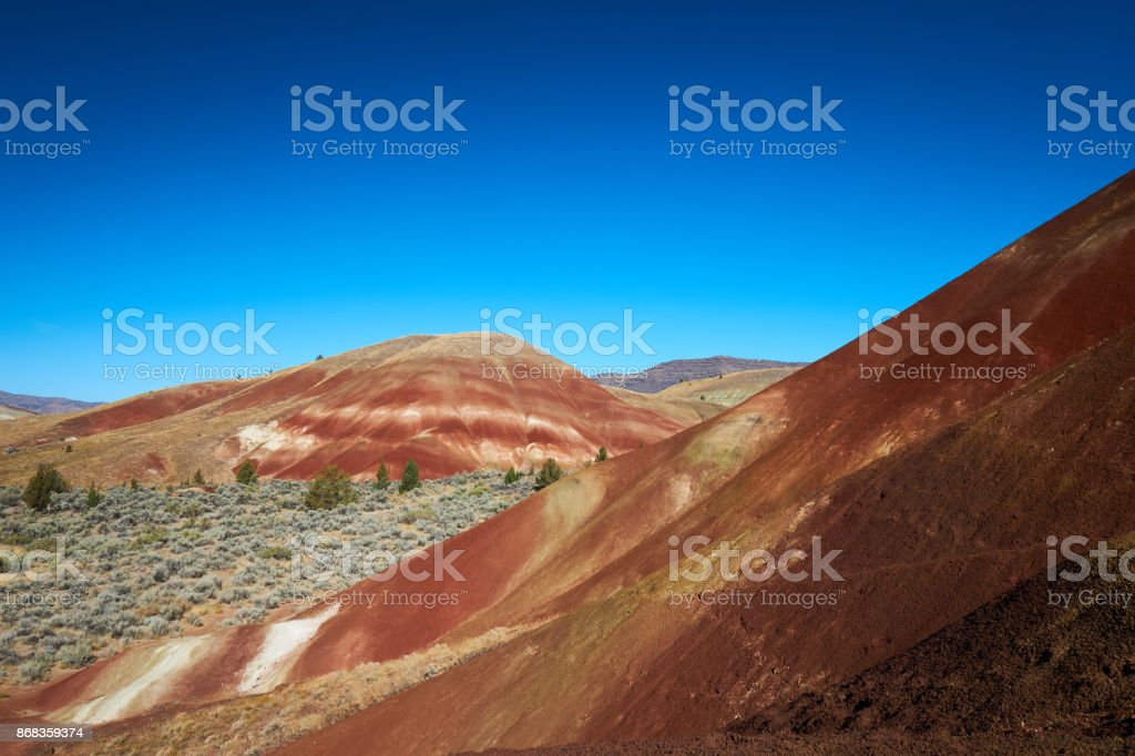 Painted Hills With Blue Sky stock photo