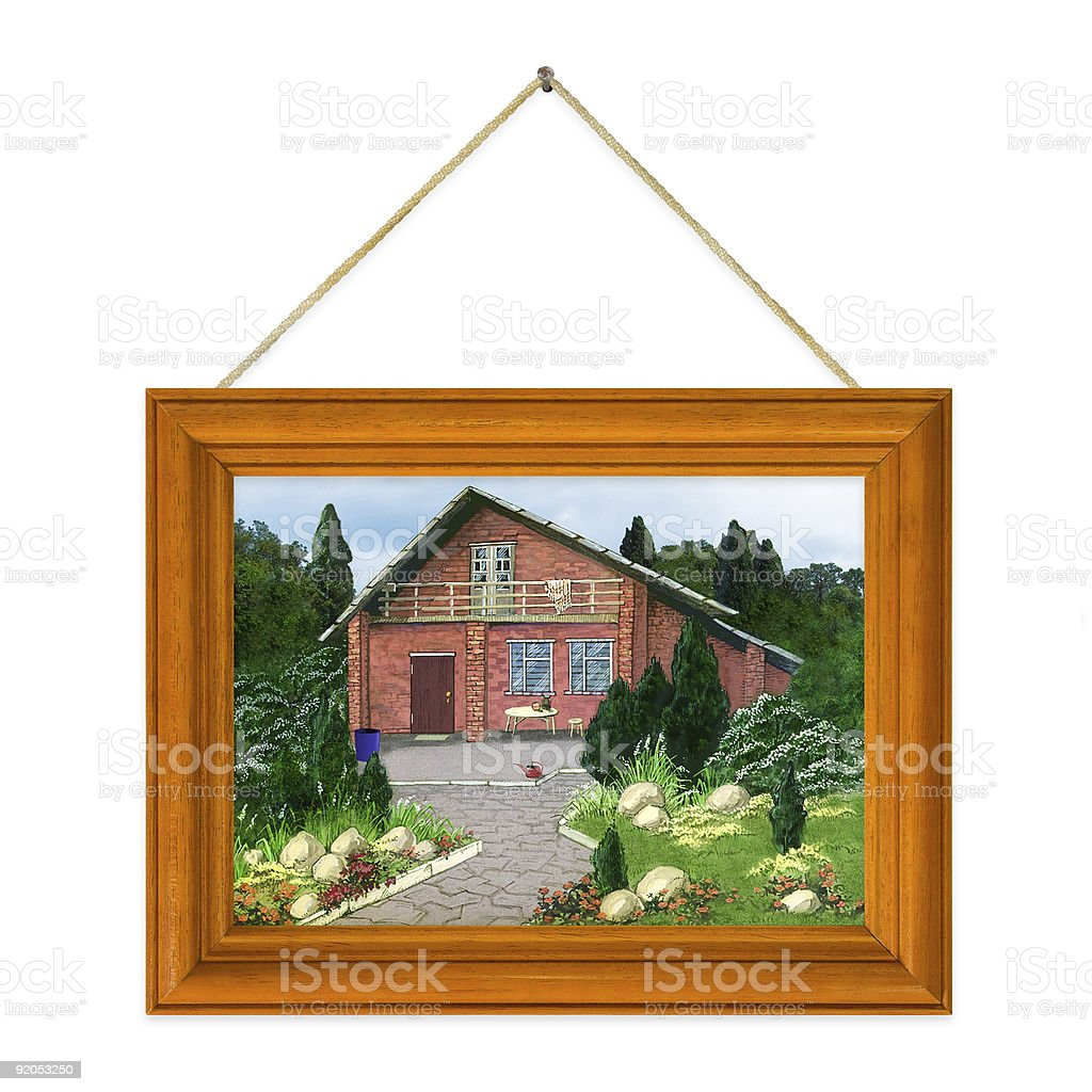 Painted house in frame royalty-free stock photo