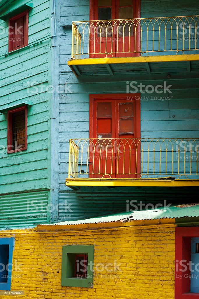 Painted houses in La Boca, Buenos Aires stock photo
