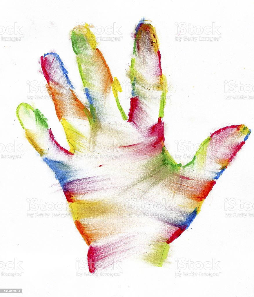 Painted human hand royalty-free stock photo