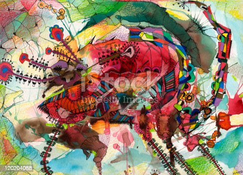 istock Painted Image of Red dragon 120204088