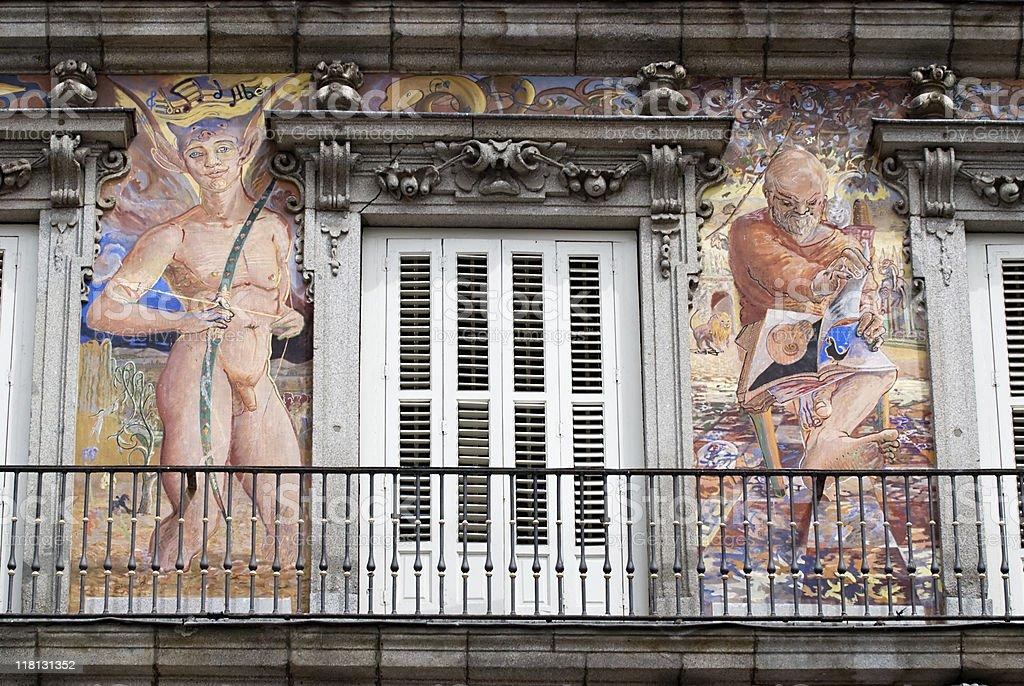 painted in Casa de la Panadería, Plaza Mayor stock photo