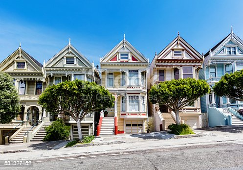 The Painted Ladies of San Francisco, historic victorian style colourful houses under blue summer sky. Alamo Square, San Francisco, California, USA.